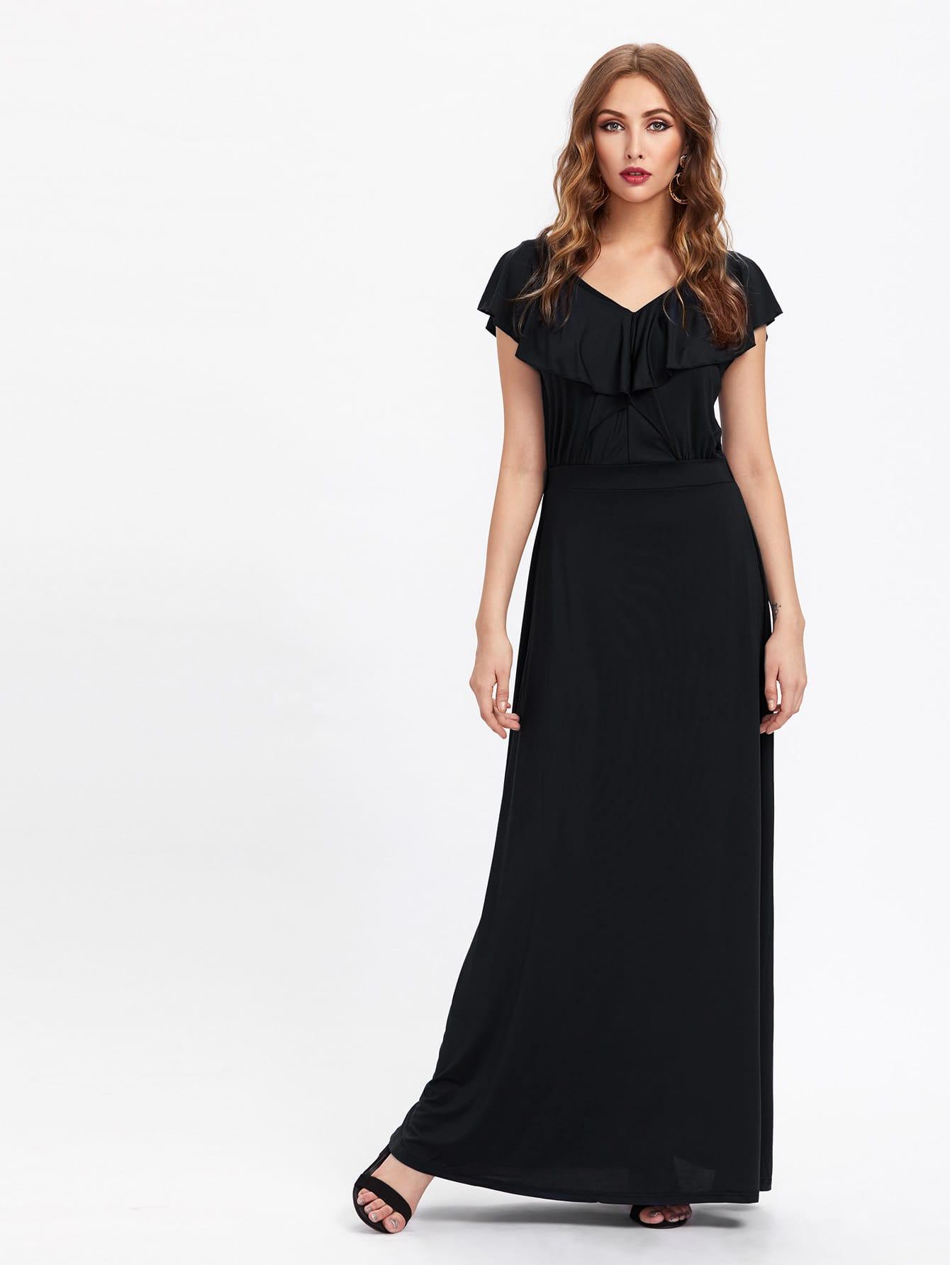 Фото Double V Frill Trim Full Length Dress. Купить с доставкой