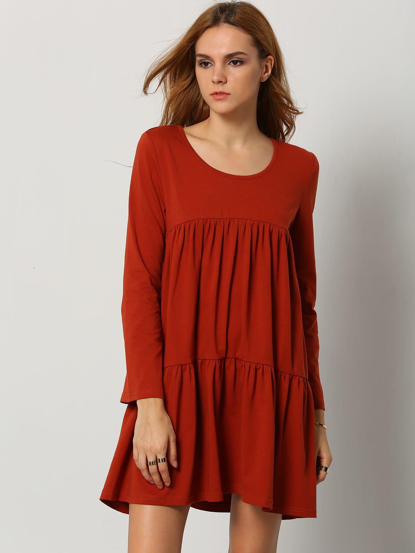Фото Orange Long Sleeve Casual Dress. Купить с доставкой