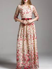 Flowers Embroidered Maxi Dress