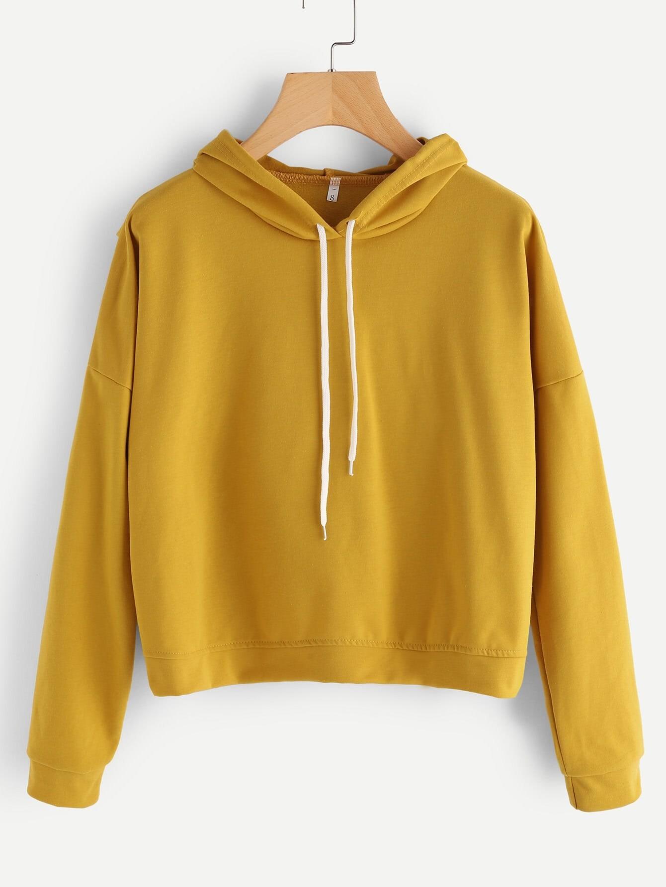 Drop Shoulder Overlap Back Hoodie two tone drop shoulder sweatshirt