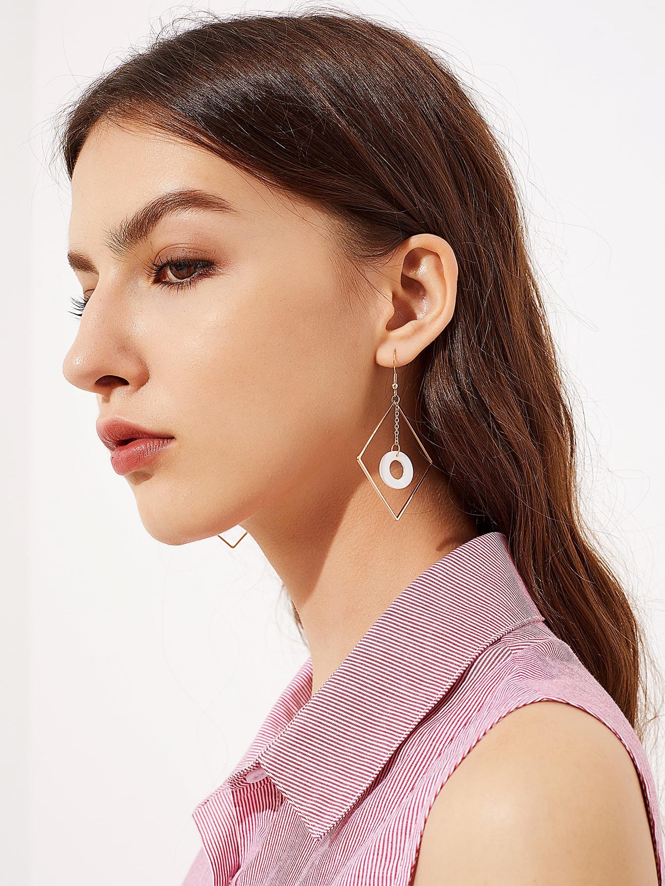 Фото Geometric Design Drop Earrings With Shell. Купить с доставкой