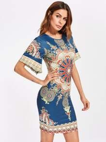Ornate Print Flutter Sleeve Dress