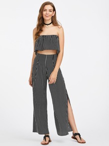 Vertical Striped Frill Layered Bandeau Top With Split Pants