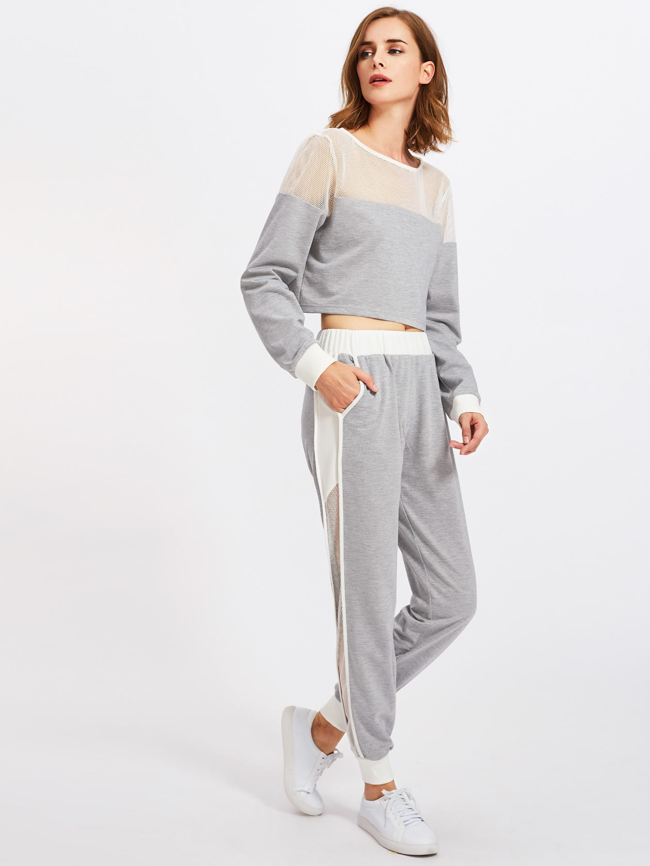 Fishnet Insert Heather Knit Sweatshirt And Pants Set contrast ruffle trim heather knit sweatshirt