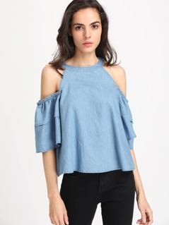Open Shoulder Layered Sleeve Chambray Top