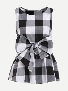 Belted Checkered Shell Top