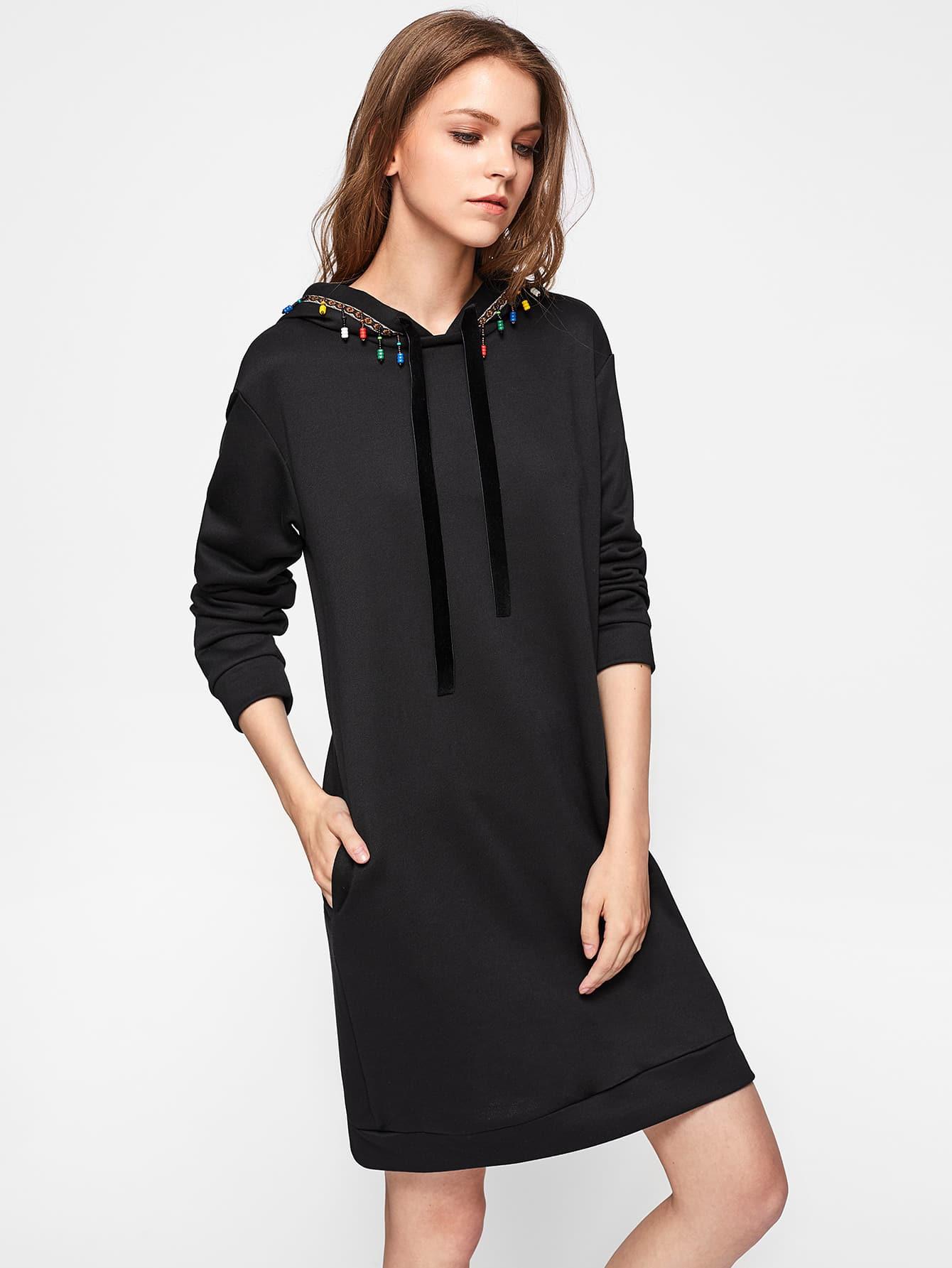 robe capuche brod e avec des franges french romwe. Black Bedroom Furniture Sets. Home Design Ideas