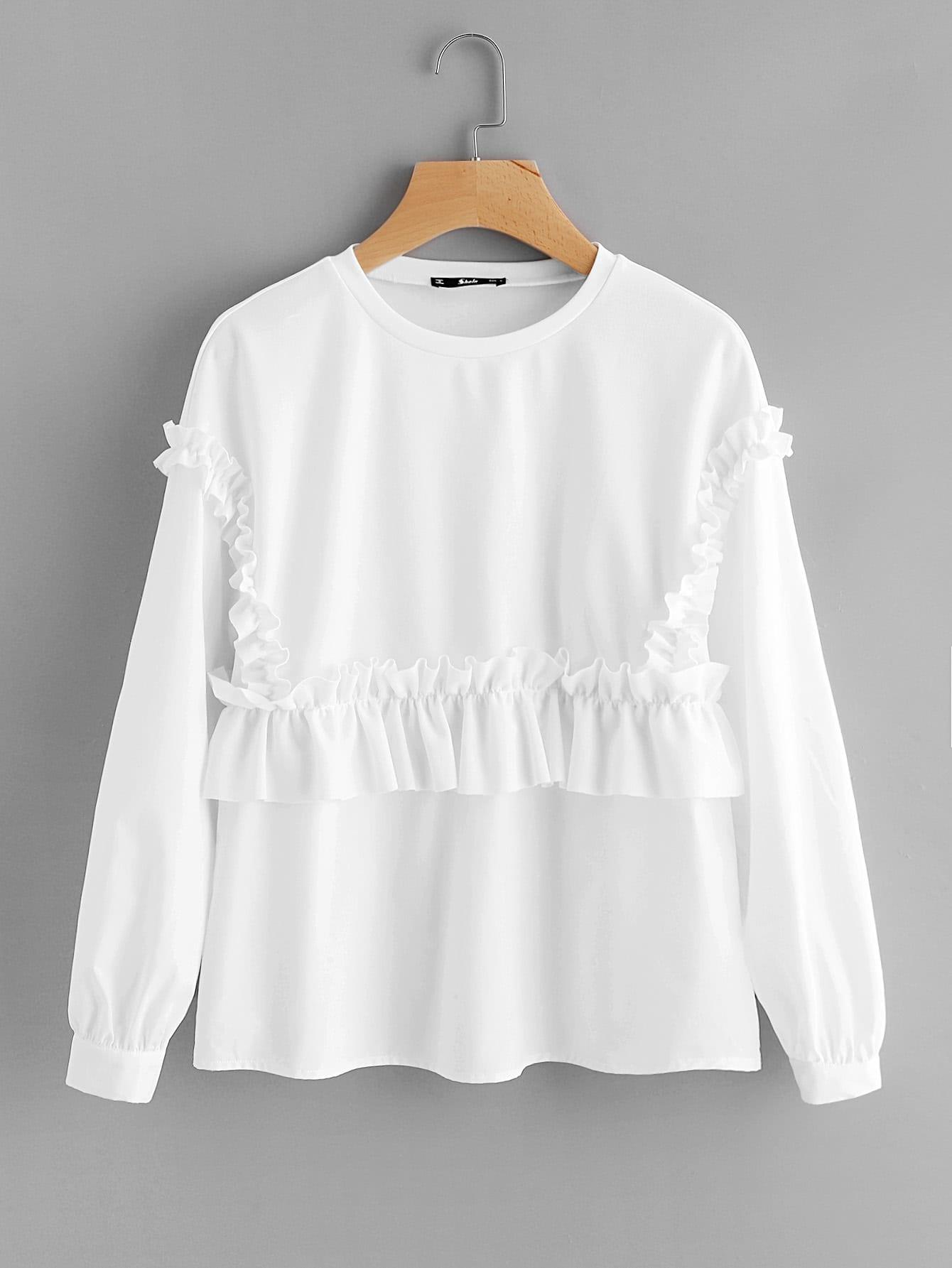 Shirred Frill Embellished Sweatshirt frill sleeve tape detail sweatshirt