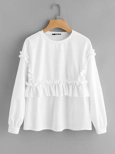 Shirred Frill Embellished Sweatshirt