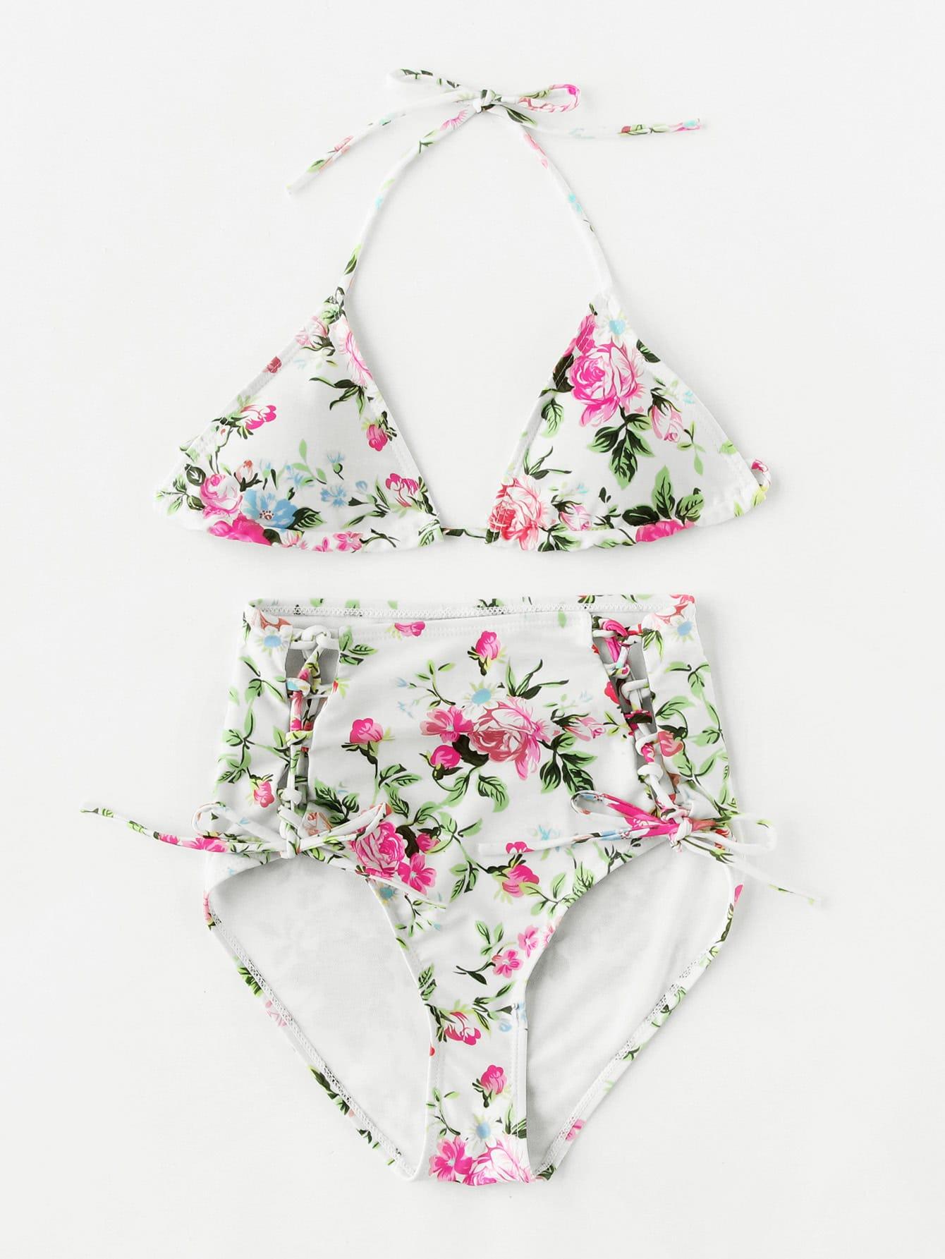 Фото Calico Print Lace Up High Waist Bikini Set. Купить с доставкой