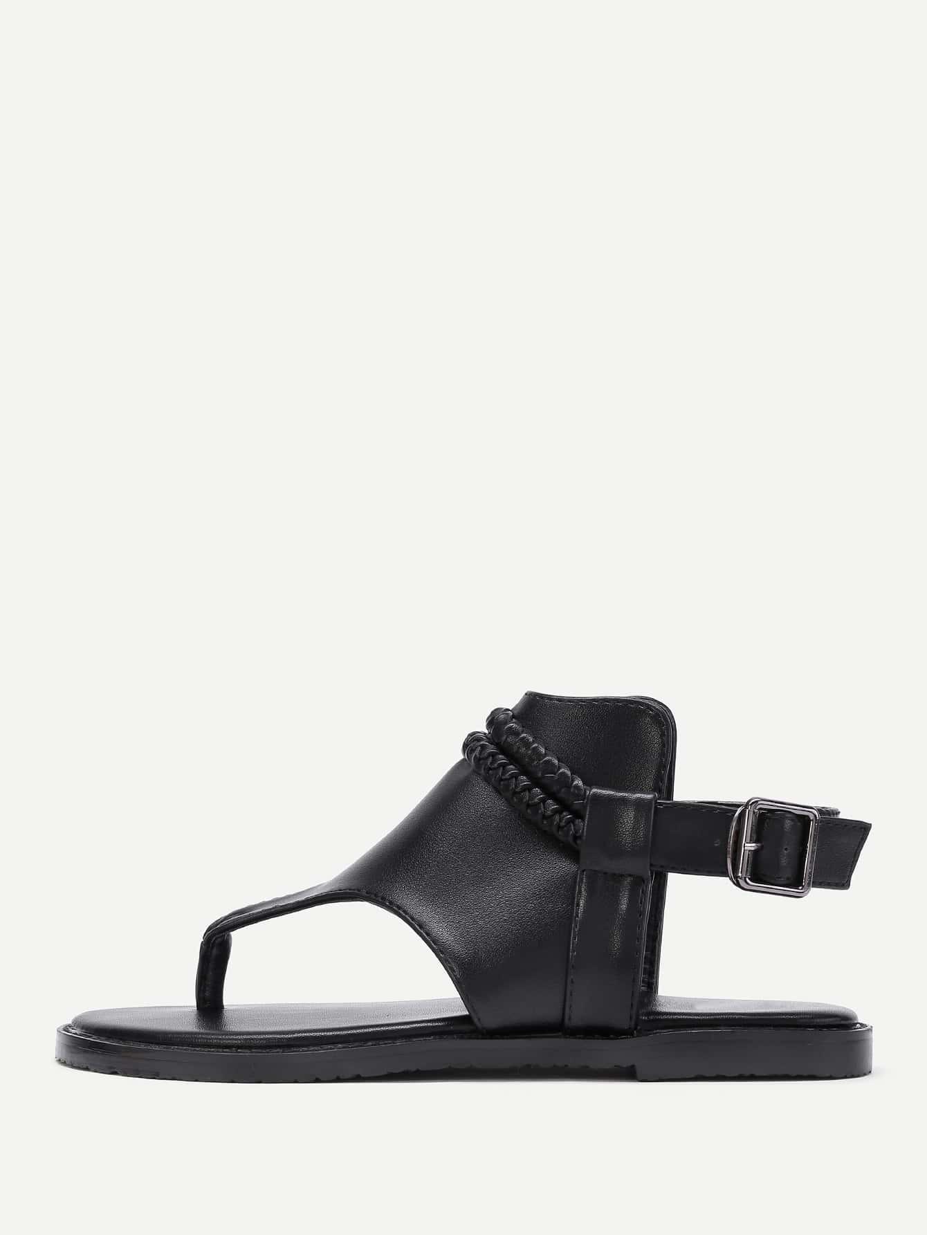 Фото PU Toe Post Flat Sandals. Купить с доставкой