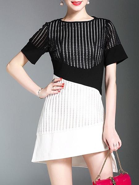 Фото Color Block Mesh Asymmetric Dress. Купить с доставкой