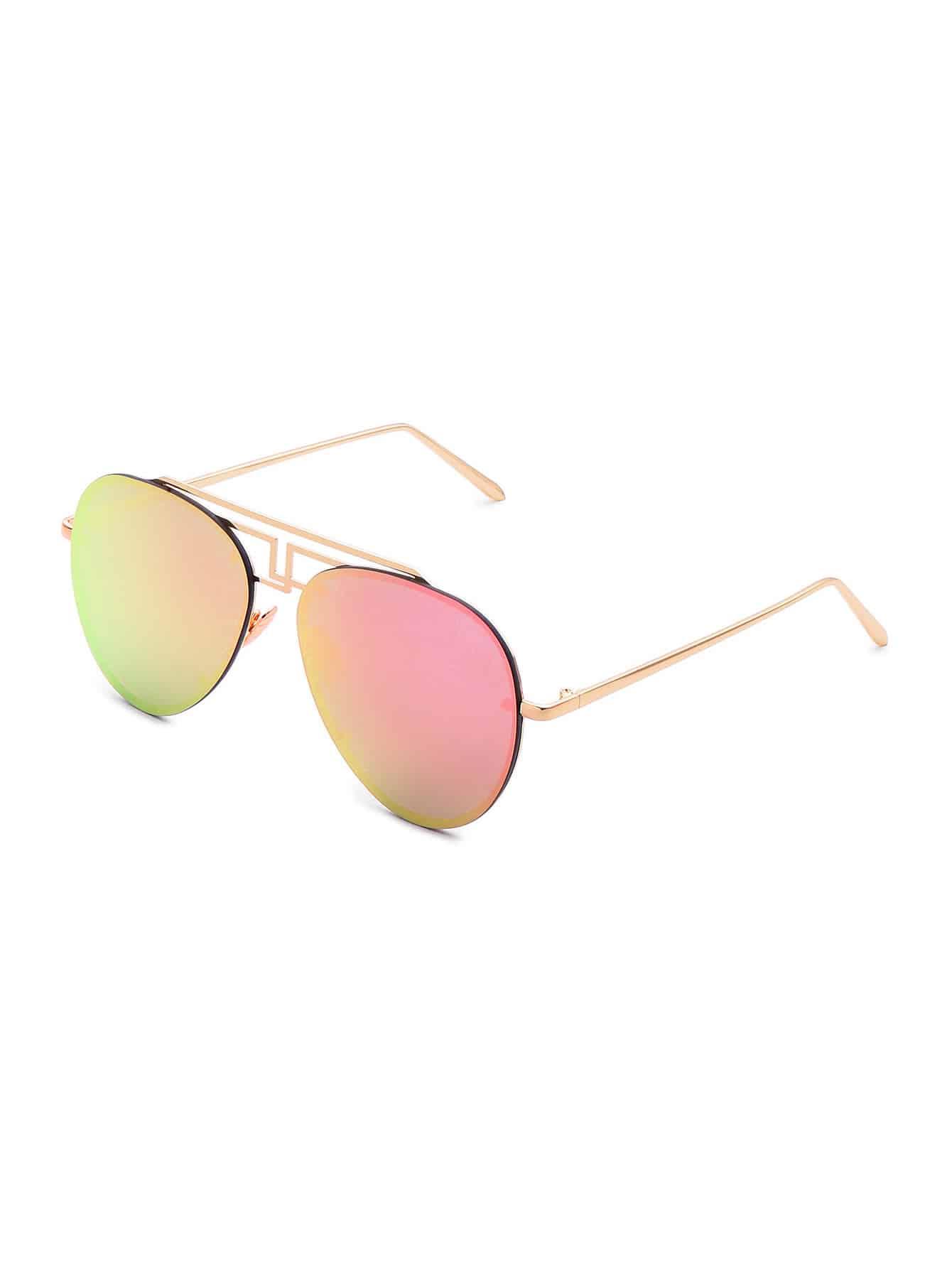 Фото Asymmetrical Top Bar Rimless Aviator Sunglasses. Купить с доставкой