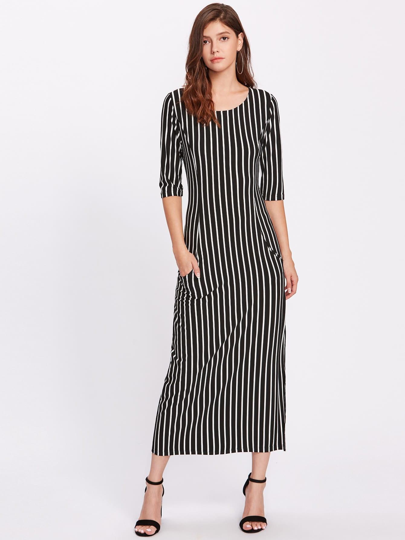 Фото Vertical Striped Split Hem Dress. Купить с доставкой
