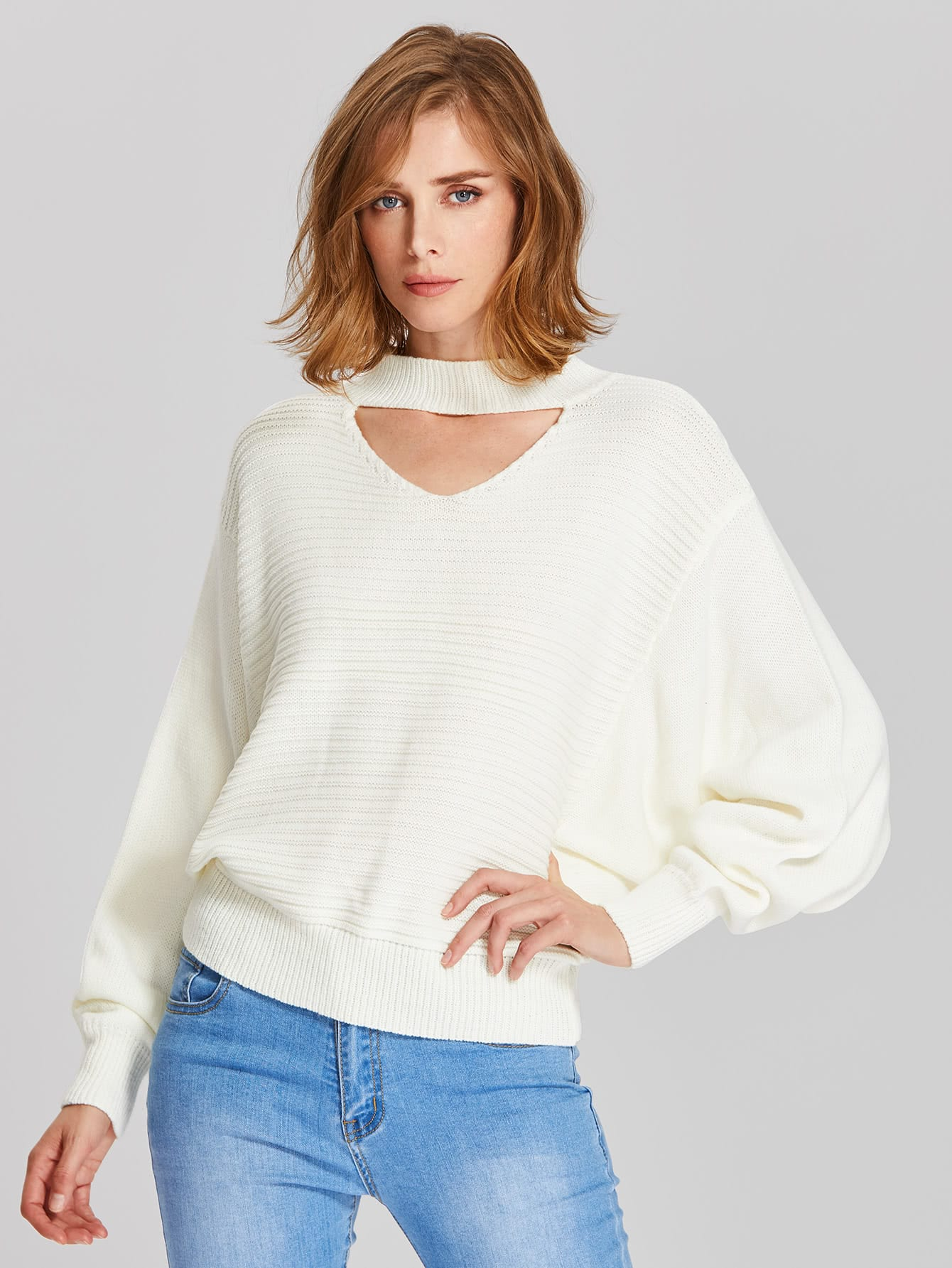 Cutout Dolman Sleeve Jumper sweater170627457