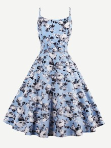 Allover Rose Print Double Strap Circle Dress