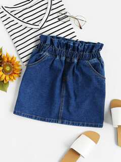 Gathered Waist Faux Fly Denim Skirt