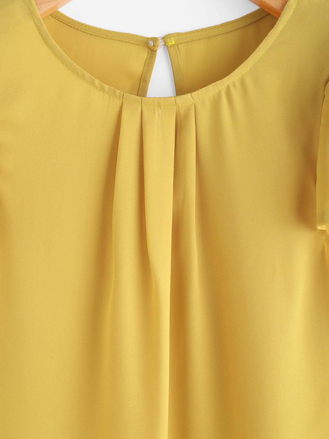 Petal Sleeve Keyhole Back Curved Hem Blouse