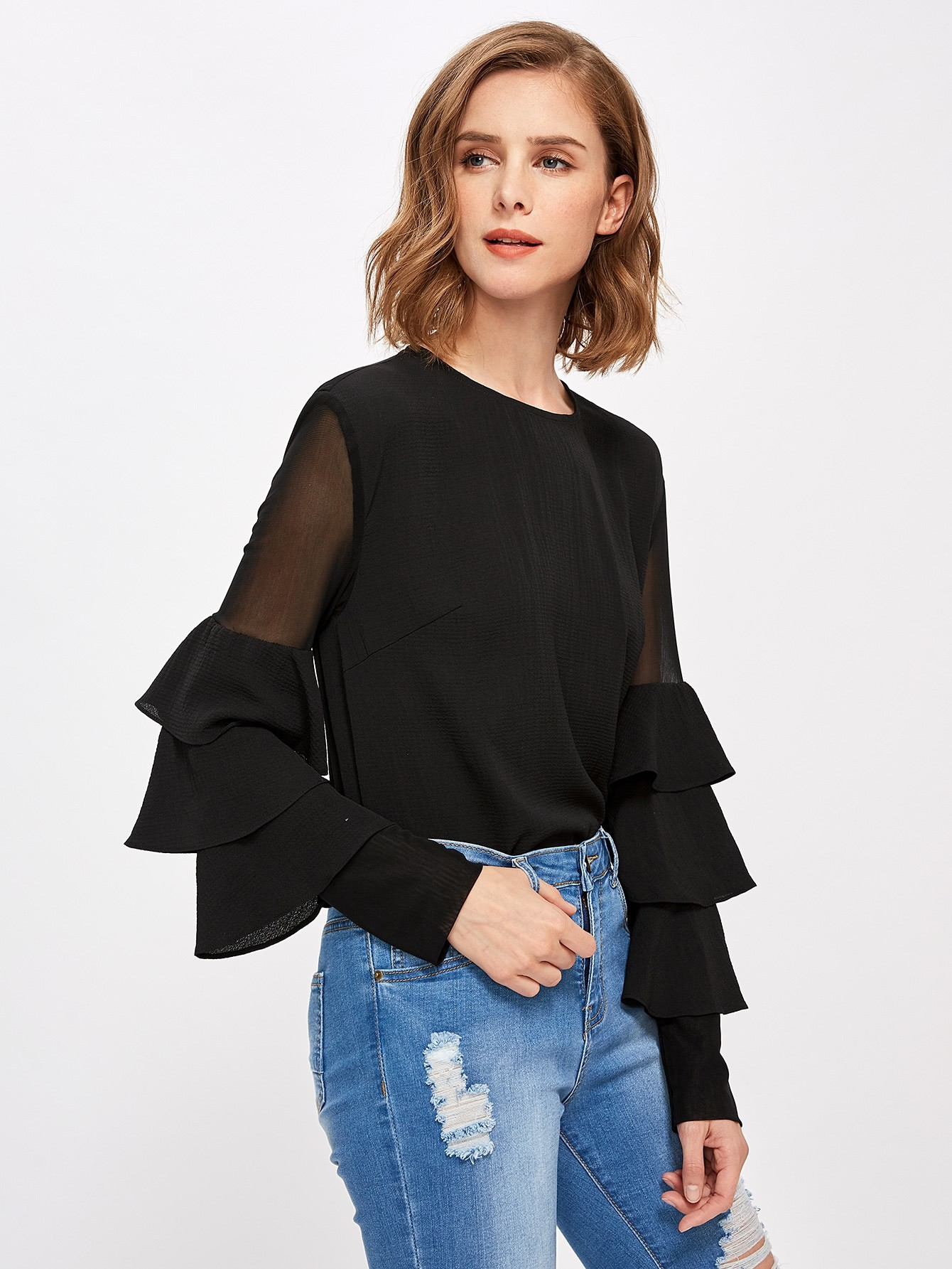 Mesh Insert Tiered Bell Sleeve Blouse