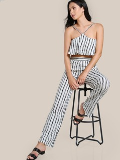 Striped Spaghetti Strap Crop & Matching Pant Set WHITE