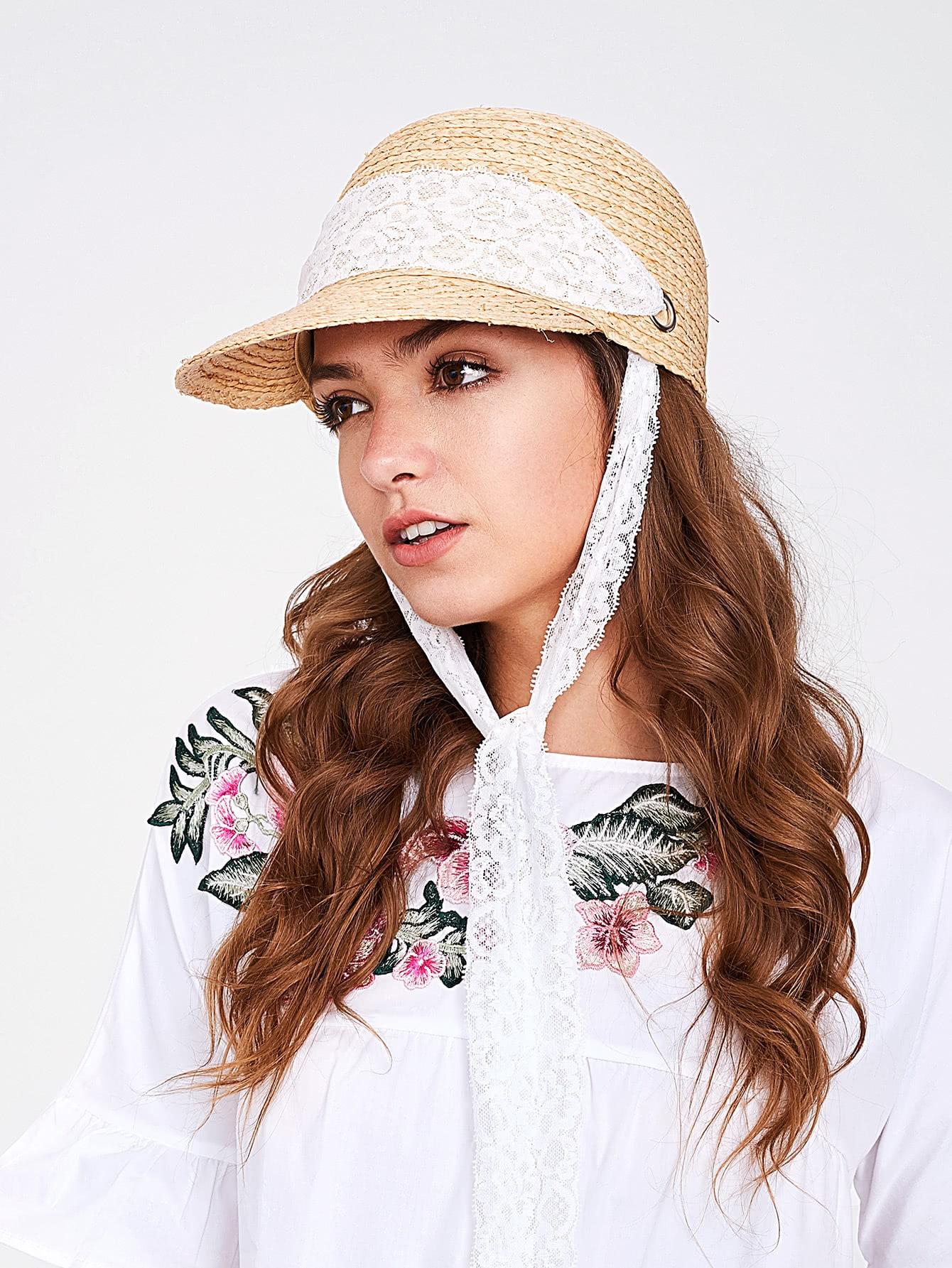 Фото Straw Visor Hat With Lace Strap. Купить с доставкой