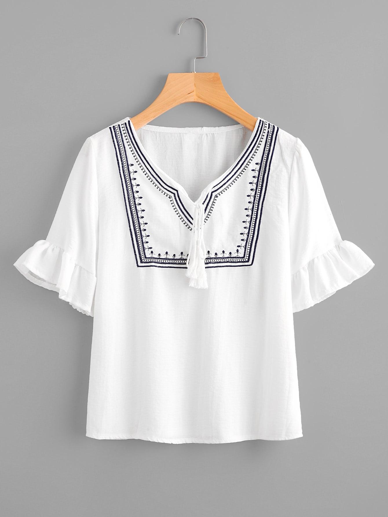 Фото Tassel Tie Neck Frill Cuff Embroidery Blouse. Купить с доставкой