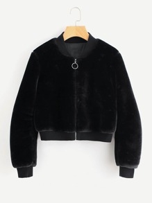 Ribbed Trim Zip Up Fuzzy Jacket