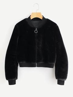 Ribbed Trim Zip Up Fuzzy Jacket