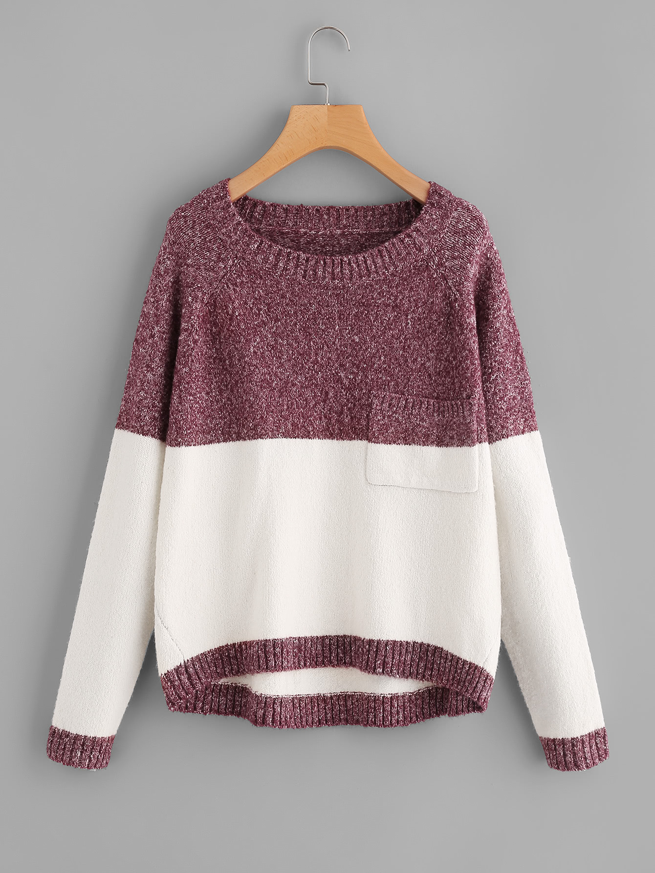 Two Tone Marled Knit Jumper two tone drop shoulder sweatshirt