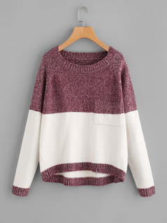 Two Tone Marled Knit Jumper