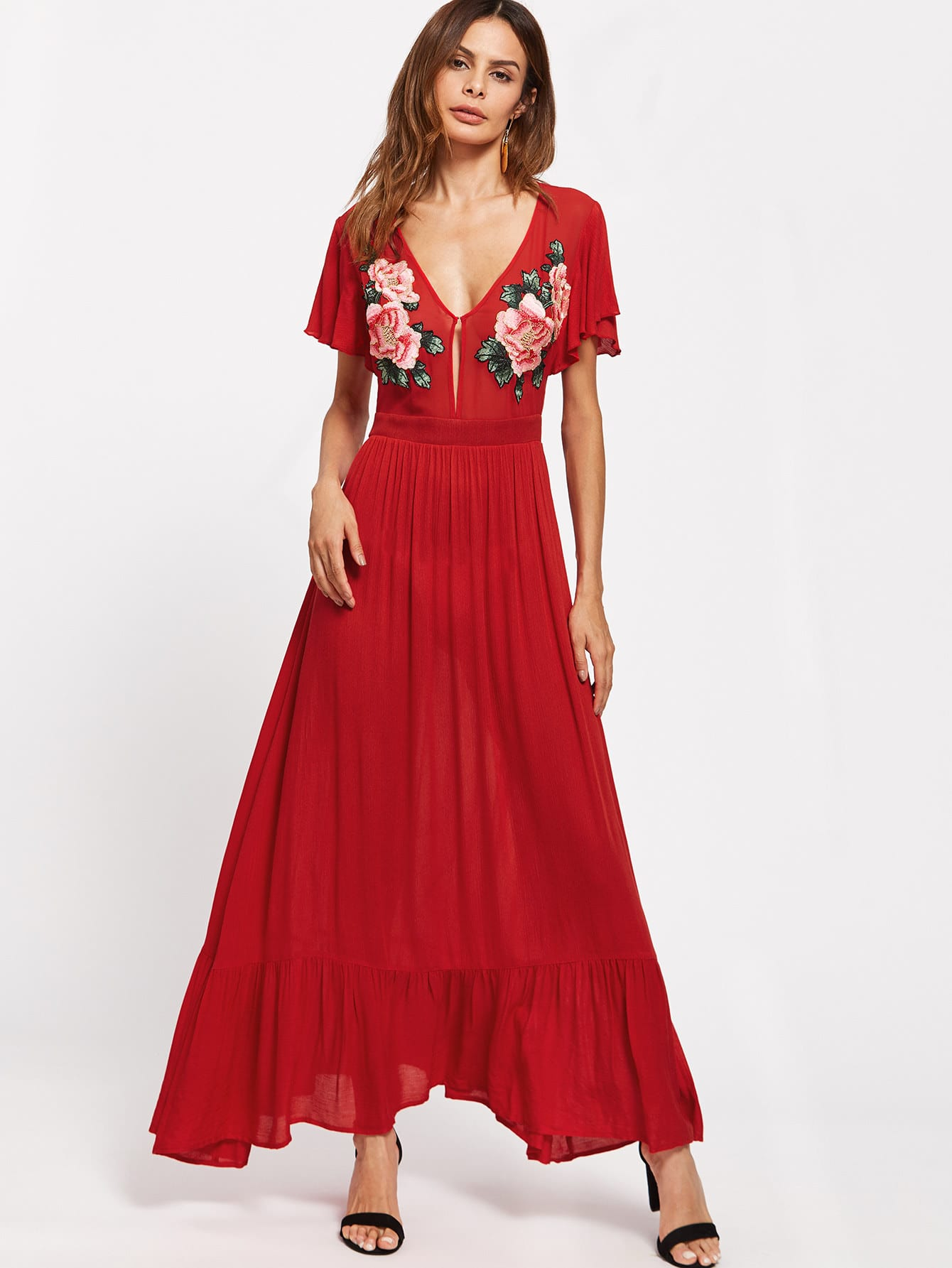 Symmetrical Embroidery Patch Flutter Sleeve Ruffle Hem Dress embroidered sequin patch ruffle hem dress page 6