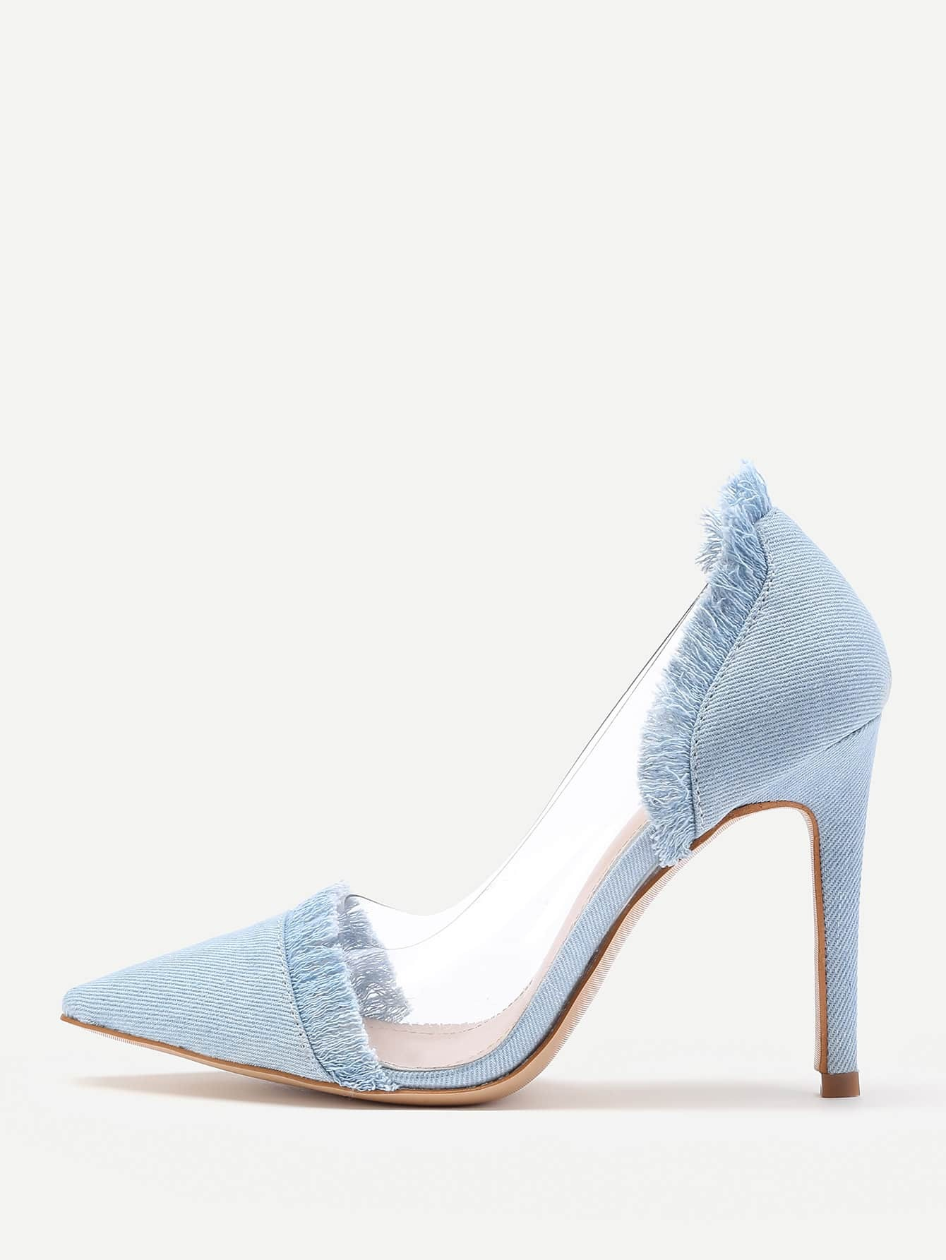 Фото Clear Detail Pointed Toe Denim Heels. Купить с доставкой