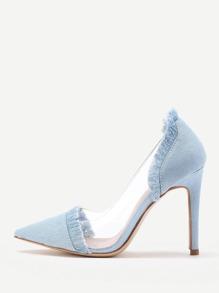 Модные джинсовые туфли на каблуках