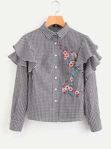 Flower Blossom Embroidered Layered Frill Checkered Blouse