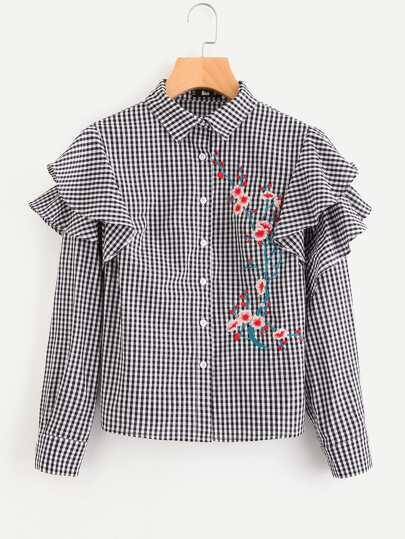 Модная клетчатая блуза с оборкой и цветочной вышивкой