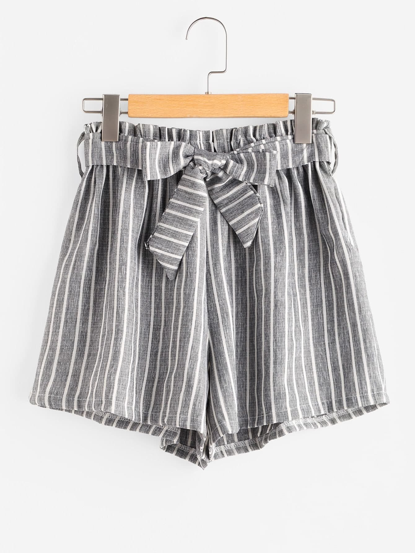 Striped Self Tie Front Shorts