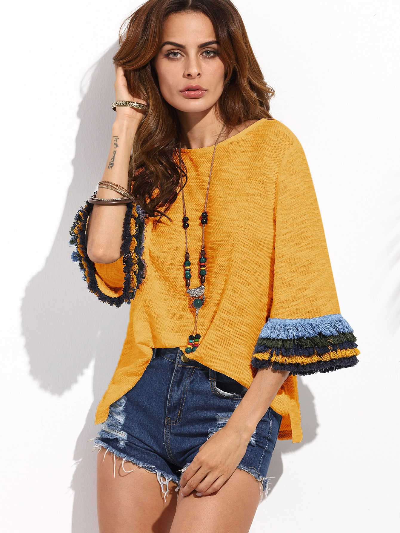 Layered Fringe Detail Fluted Sleeve Slub Tee layered fringe detail keyhole back top