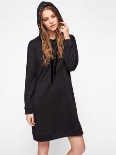 Embroidery Tape And Beading Fringe Detail Hoodie Dress
