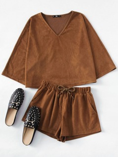 Suede Top And Drawstring Shorts Co-Ord