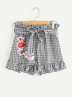 Embroidered Flower Applique Self Tie Frilled Gingham Shorts