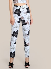 High Rise Floral Print Pants FLORAL