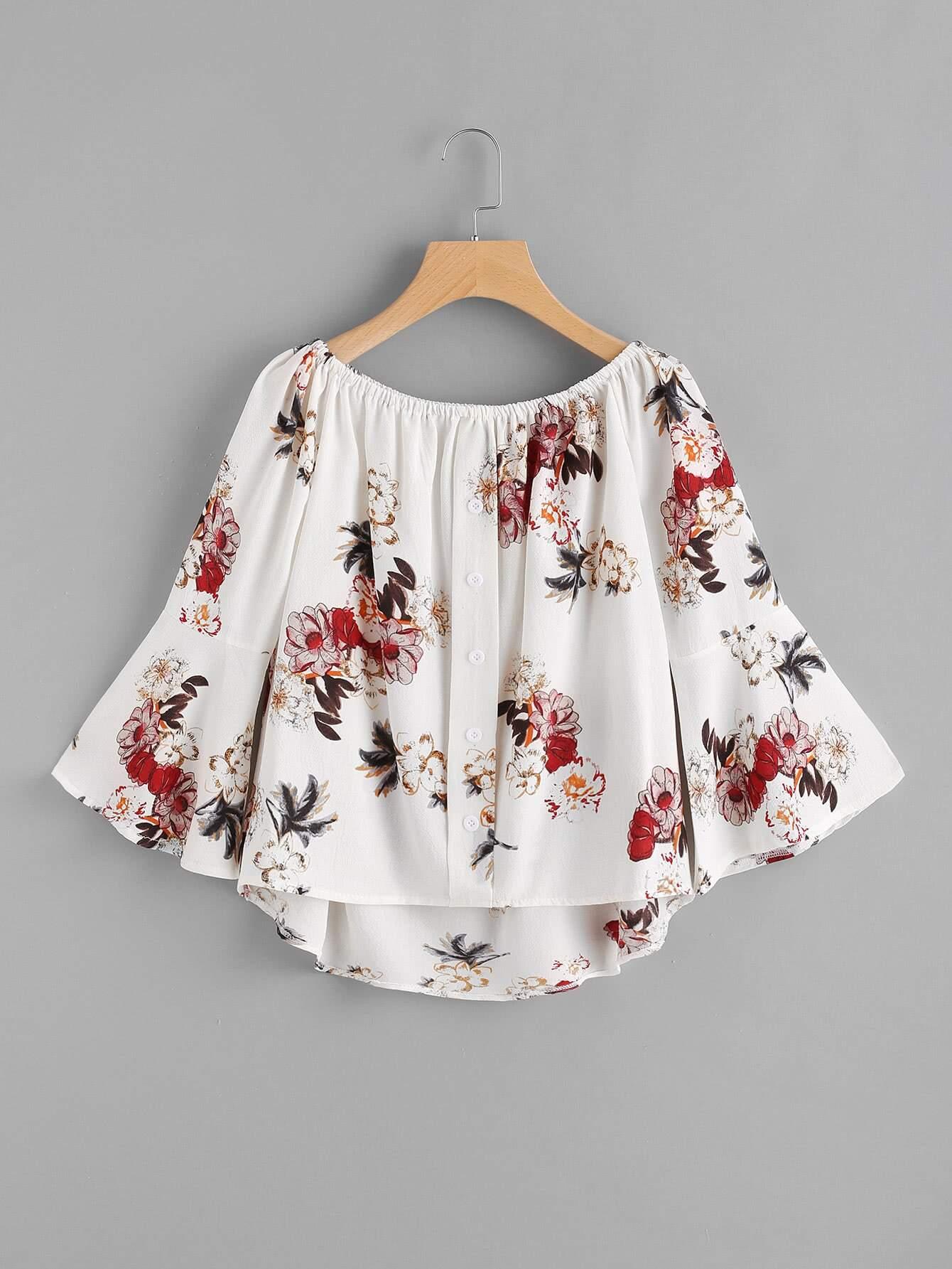 Купить Модный асимметричный топ с цветочным принтом, null, SheIn