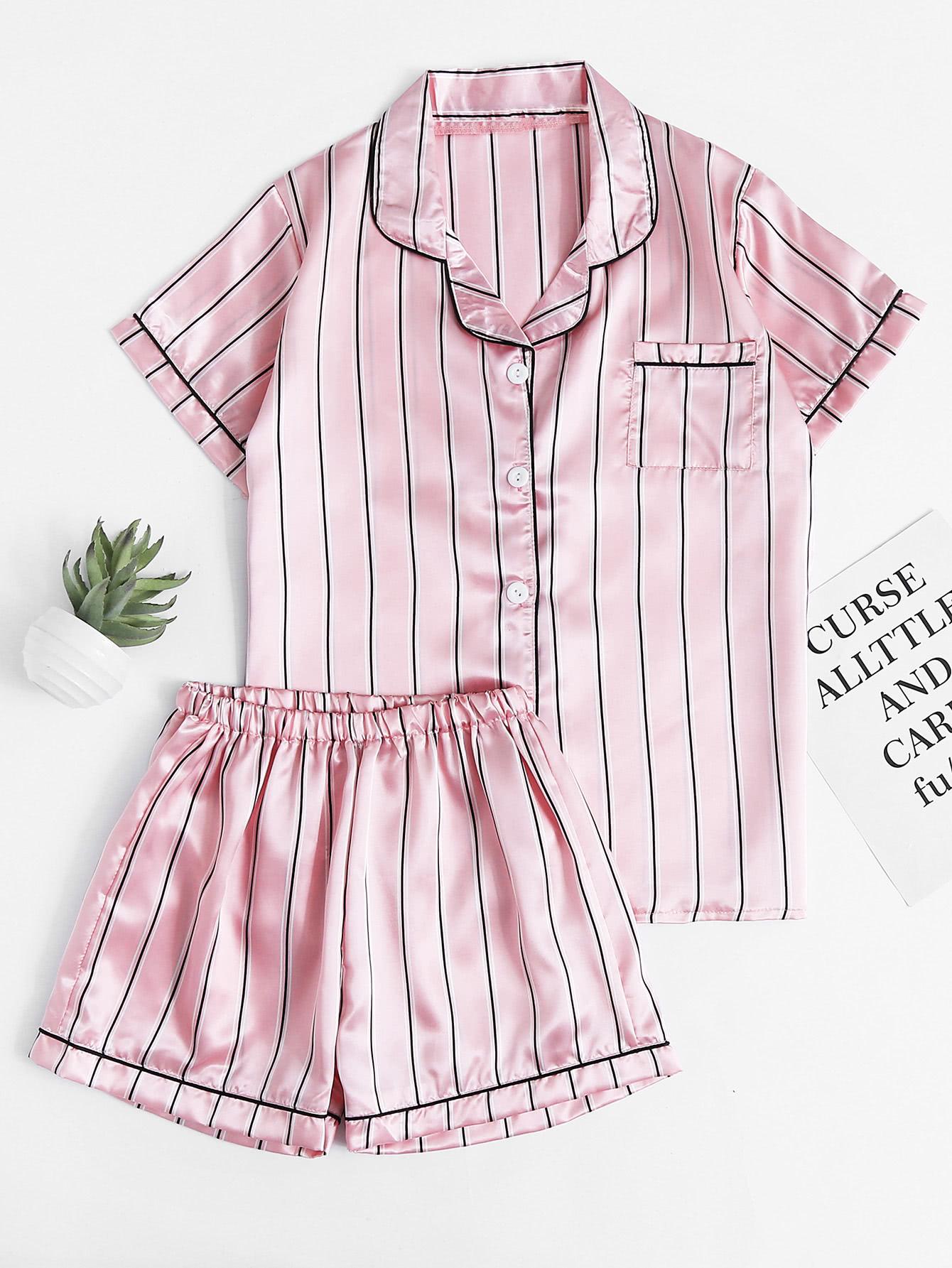 Фото Pinstripe Revere Collar Satin Pajama Set. Купить с доставкой