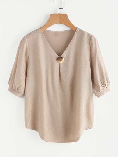 V-neckline Metal Embellished Curved Hem Blouse