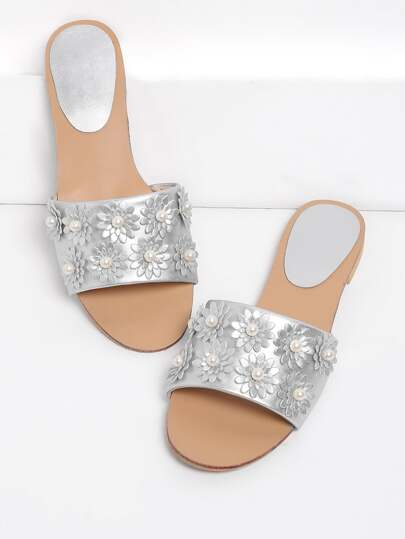 Faux Pearl Decorated PU Flat Sandals