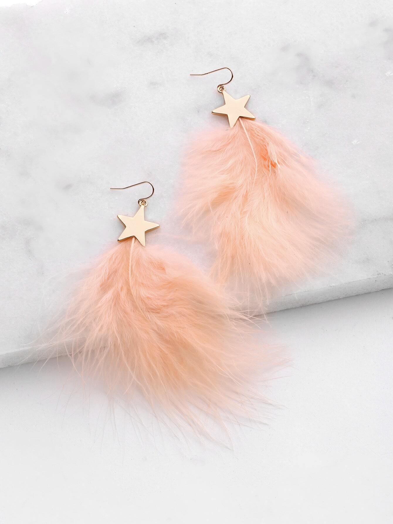 Фото Feather Design Drop Earrings With Star. Купить с доставкой