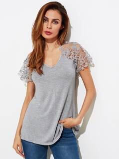 Lace Yoke Open Back Heather Knit Tee