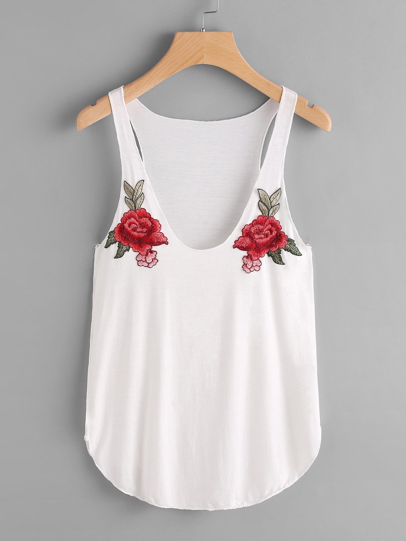 Curved Hem Tank Top With Embroidered Patches