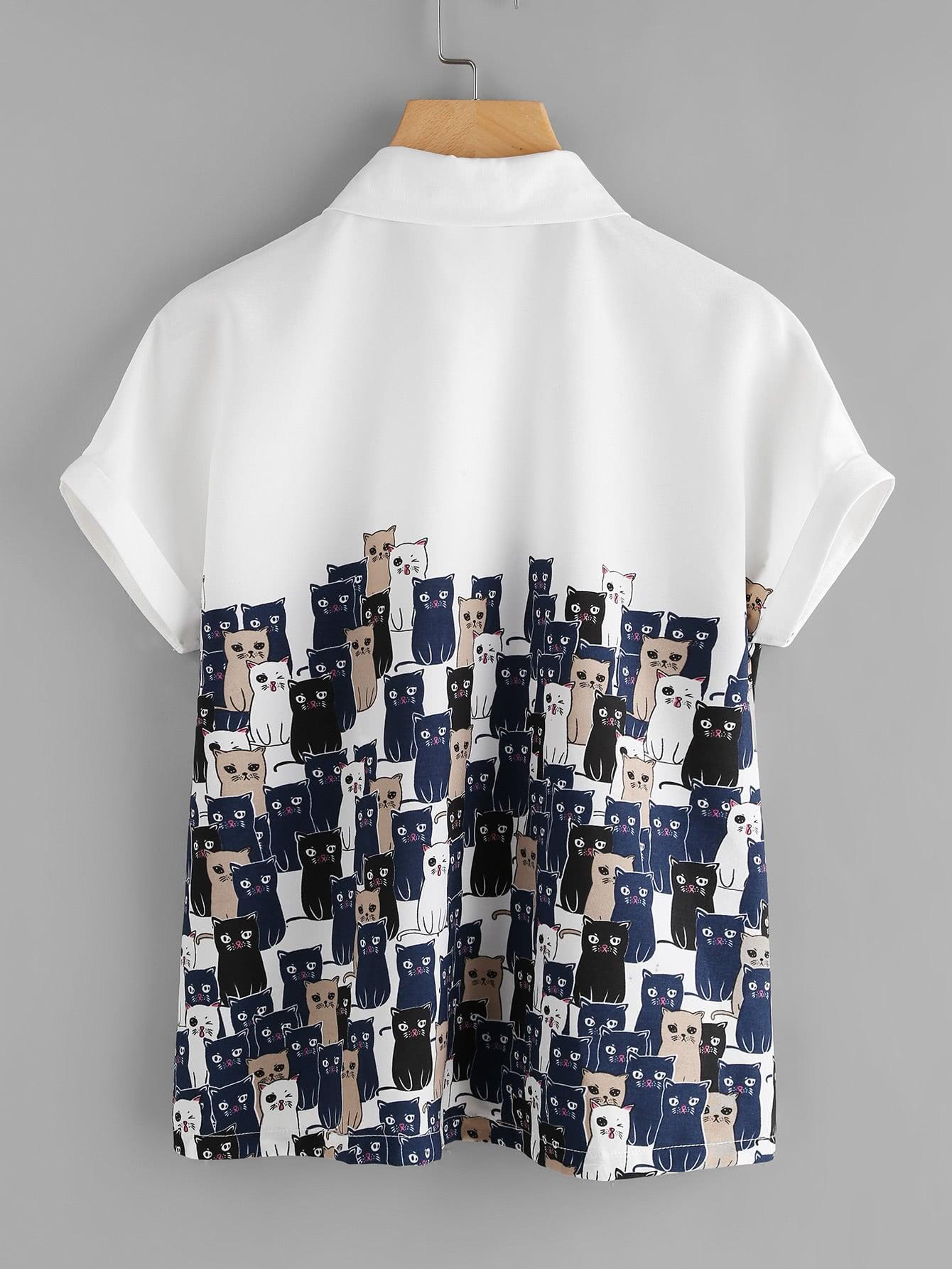 Cartoon Cats Print Cuffed Shirt