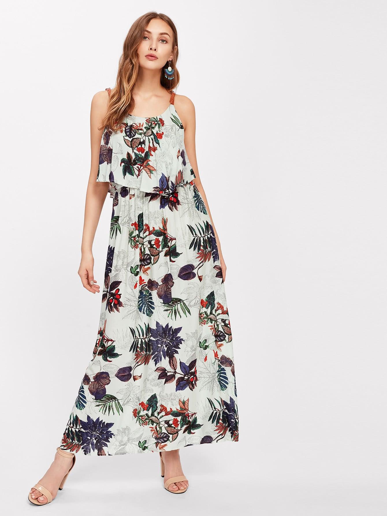 Фото Flounce Layered Tropical Print Cami Dress. Купить с доставкой